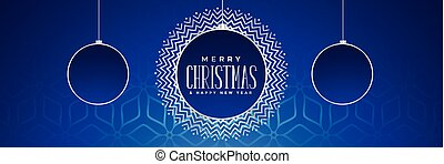 blue christmas banner with hanging balls
