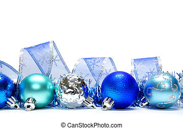 Blue Christmas bauble border - Blue Christmas bauble...