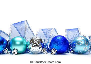 Blue Christmas bauble border - Blue Christmas bauble ...