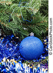 blue Christmas bauble, tinsel, Xmas tree 6