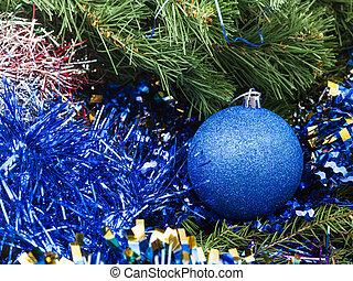 blue Christmas bauble, tinsel, Xmas tree 7