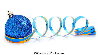 Blue christmas bauble with a ribbon