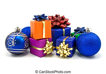 christmas baubles and gifts