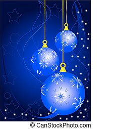 Blue Christmas Baubles Background