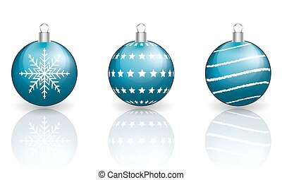 Blue christmas baubles on white background.