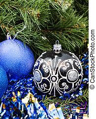blue Christmas baubles, tinsel, Xmas tree 4
