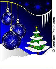 Blue Christmas Baubles Winter Scene