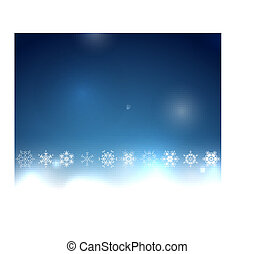 Blue Christmas bokeh snowflake background