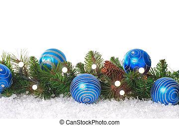 Blue Christmas border - Christmas border with lights, blue...