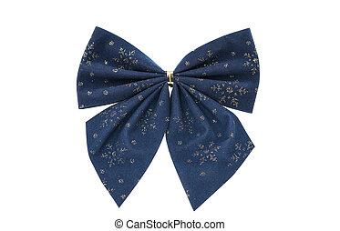 blue christmas bow isolated on white background