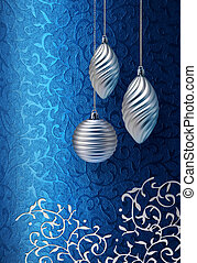 Blue Christmas brocade silver decoration