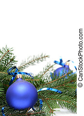 Blue christmas bulbs