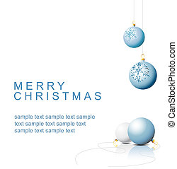Blue Christmas bulbs with snowflakes ornaments on a white ...