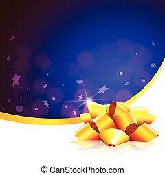 Blue christmas card gold ribbon