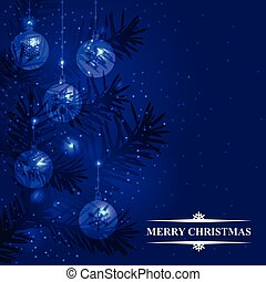 Blue Christmas card with firs branches and baubles