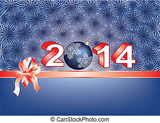 Blue Christmas card with ribbon over 2014