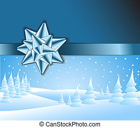 Blue Christmas card with snowy landscape