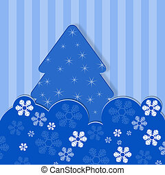 Blue Christmas card with stripes