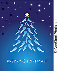 Blue christmas card with tree