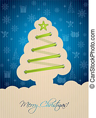 Blue christmas card with tree shoelace