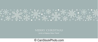 blue christmas card with white seamless pattern snowflakes