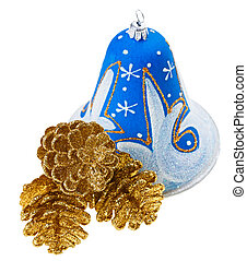 Blue christmas decoration bell and golden fircones, isolated on white