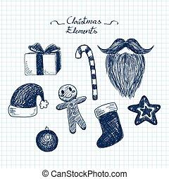 Blue Christmas Doodle Elements