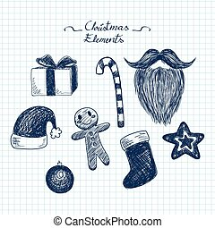 Blue Christmas Doodle Elements
