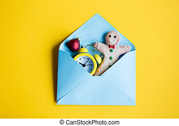 envelope and clock with cookie