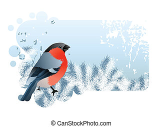 Christmas frame with bullfinch
