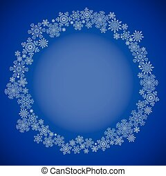 Blue christmas frame with snowflakes circle