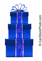 Blue Christmas gift boxes stacked