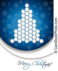 Blue christmas greeting card design with hexagon tree