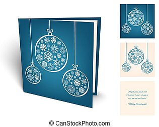 Blue christmas greeting card with balls from snowflakes.
