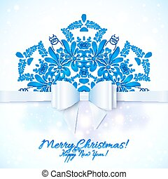 Blue Christmas greeting card with bow