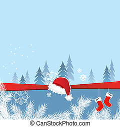 Blue Christmas greeting card with santa cap and socks