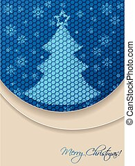 Blue christmas greeting card with scribbled tree and hexagon background