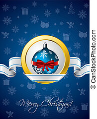Blue christmas greeting with ribbon design