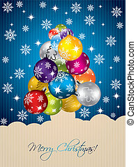 Blue christmas greeting with tree shaped decorations