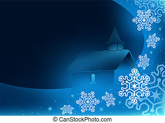 Blue Christmas Greetings with Church - Abstract Illustration...