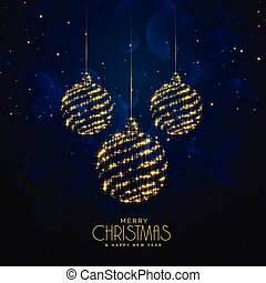 blue christmas holiday background with hanging balls and sparkles