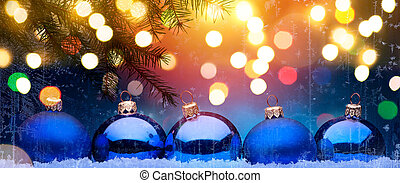 Blue Christmas; Holidays background with Xmas decoration on...