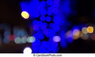 Blue Christmas lights abstract background holiday
