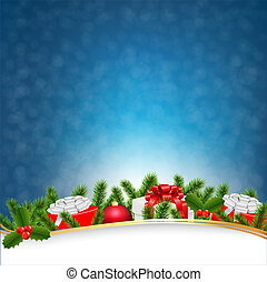 Blue Christmas Retro Postcard
