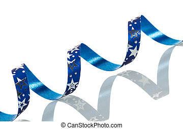 Blue Christmas ribbon on white background