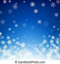 Blue Christmas snowflakes background. Falling white snowflakes on blue background. Vector illustration