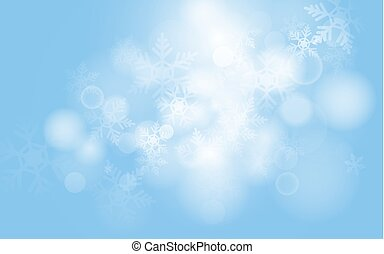 Blue christmas snowflakes background with abstract bokeh light