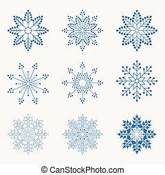 blue christmas snowflakes, set