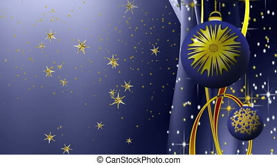 Detail of elegant New Year and Christmas decoration, blue ornaments, golden stars falling, festive background, magical seasonal scene, animated abstract illustration, 30fps, HD1080