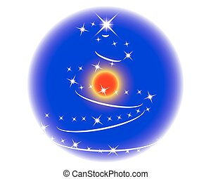 Blue christmas sphere with christmas stars.